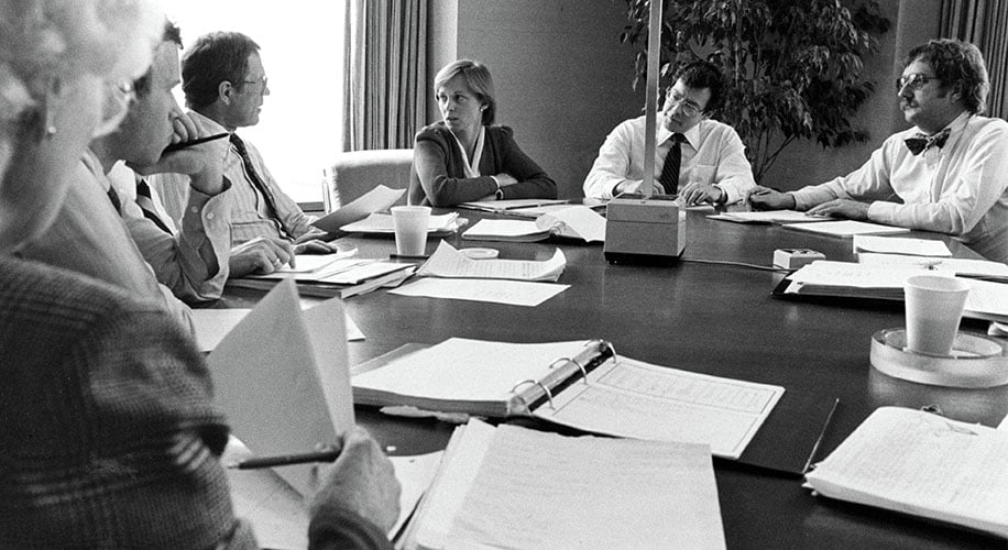 Claudia Huntington in a meeting with investment group associates circa 1984.