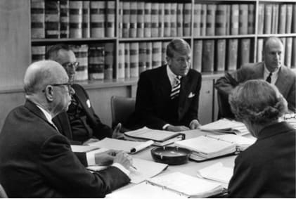 Capital Research and Management meeting in 1961, with Jonathan Bell Lovelace, Chuck Schimpff, Colman Morton, Jim Fullerton and Mary Bauer.