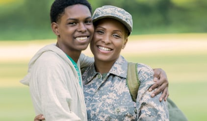 military mother and son