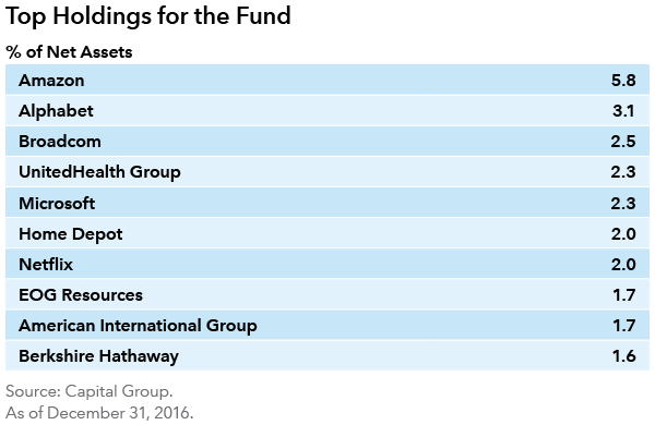 Growth Fund of America top holdings