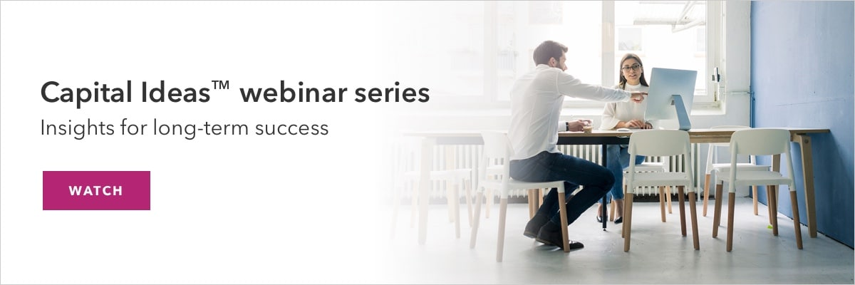 Promotion for Capital Ideas webinar series registration